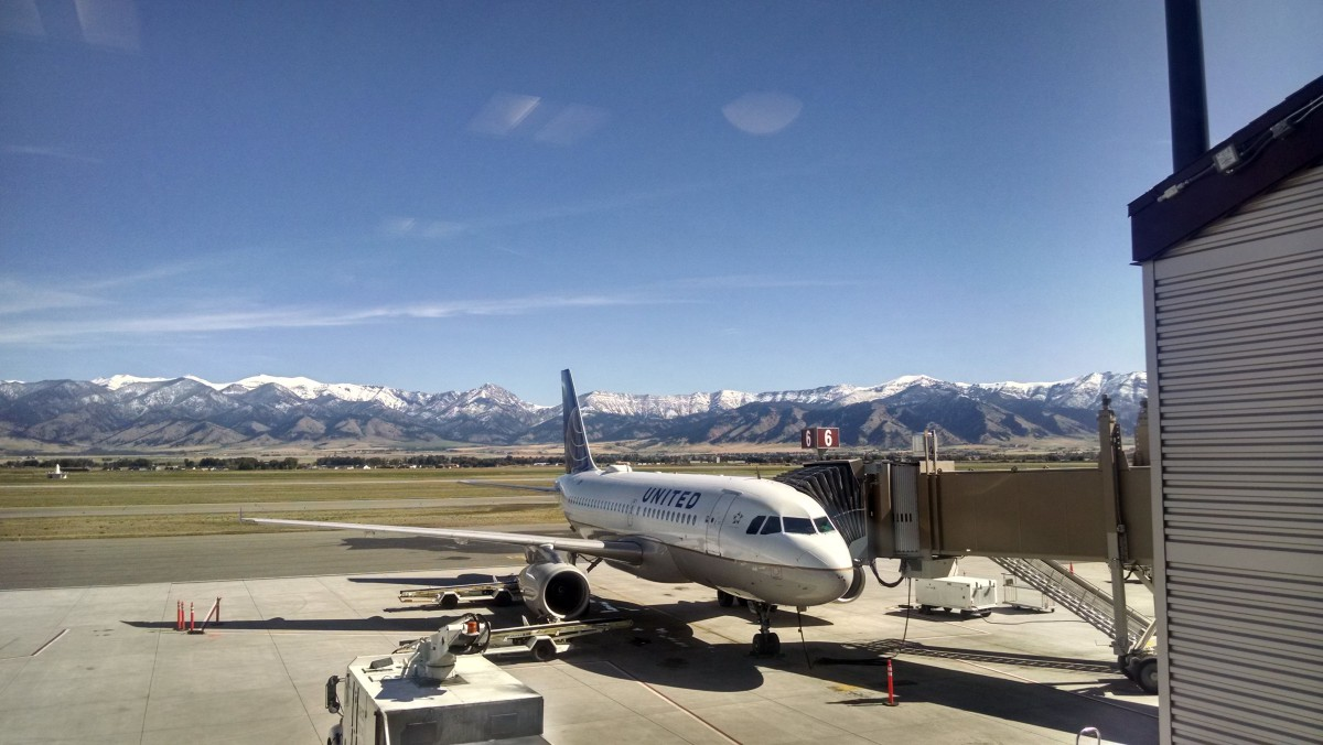 Airport view of Bozeman Mountains